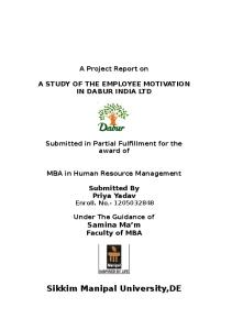 A STUDY OF THE EMPLOYEE MOTIVATION IN DABUR INDIA LTD.doc