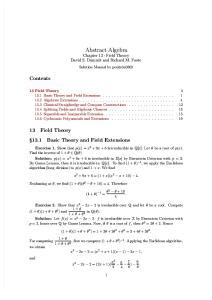 Abstract Algebra Dummit Foote Chapter 13 Field Theory Solutions