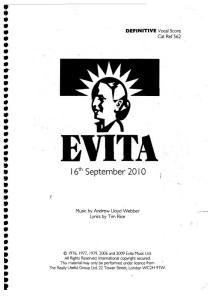 Andrew Loyd Webber Evita Definitive Vocal Score