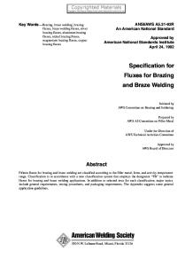 (ANSI_AWS A5.31-92R) AWS A5 Committee on Filler Metal-Specification