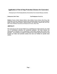 Application of Out of Step Protection Schemes for Generators