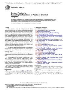ASTM-D543 (2014) - Evaluating the Resistance of Plastics to Chemical Reagents