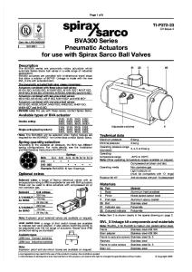 BVA300 Series Pneumatic Actuators for Use With Spirax Sarco Ball Valve