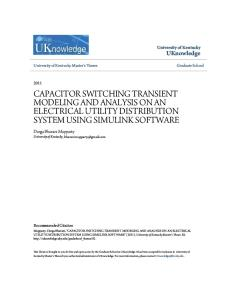 Capacitor Switching Transient Modeling and Analysis on an Electri