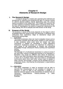 Chapter 6 Elements of Research Design Summary