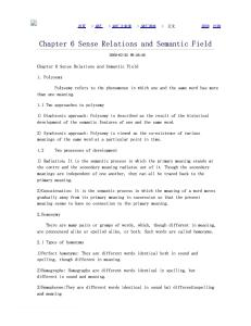 Chapter 6 Sense Relations and Semantic Field