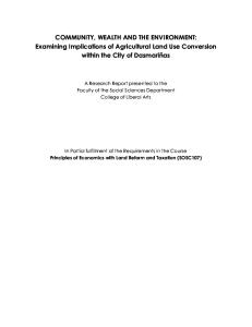 COMMUNITY, WEALTH AND THE ENVIRONMENT: Examining Implications of Agricultural Land Use Conversion within the City of Dasmariñas