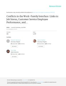 Conflicts in the Work–Family Interface: Links to Job Stress, Customer Service Employee Performance, and Customer Purchase Intent