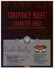 Conspiracy Rules Fillable Character Sheet (DC3-V1.1)