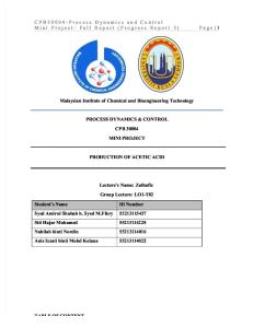 CPB30004 Process Dynamics and Control Mini Project: Production of acetic acid