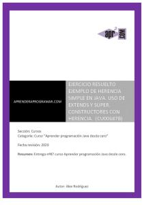 CU00687B Ejercicio Resuelto Herencia Extends Super Java Tutorial Programador