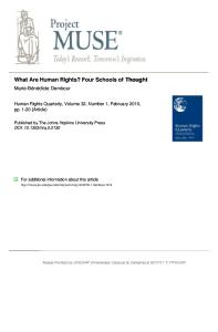 Dembour, Marie-Bénédicte - What are human rights: four schools of thought