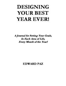 Designing Your Best Year Ever! 2008 Goals Journal
