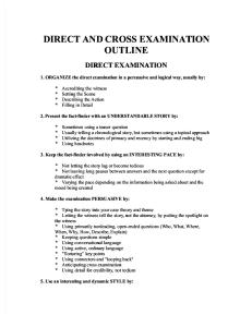 Direct and Cross Examination Outline