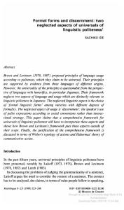 Formal Forms and Discernment Two Neglected Aspects of Universals of Linguistic Politeness