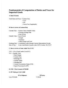 Fundamentals of Computation of Duties and Taxes for Imported Goods