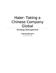 Haier - Taking a Chinese company global