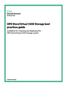 HPE StoreVirtual 3200 Storage Best Practices Guide (a00009194enw)