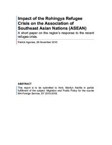 Impact of the Rohingya Refugee Crisis on the Association of Southeast Asian Nations (ASEAN)