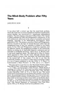 JAEGWON KIM - The Mind-Body Problem after Fifty Years