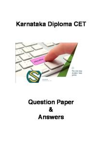 Karnataka Diploma CET 2013 Solved Question Paper - Computer Science Enggeering