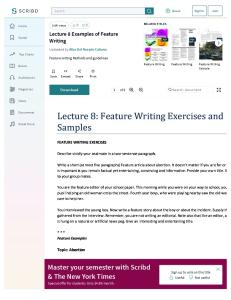 Lecture 8 Examples of Feature Writing