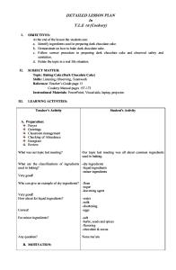 Lesson Plan in TLE - Cookery