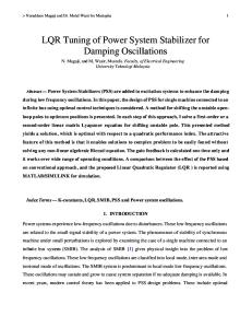 LQR Tuning of Power System Stabilizer for Damping Oscillations