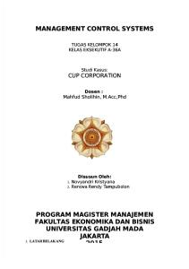 Management Control Systems: Cup Corporation