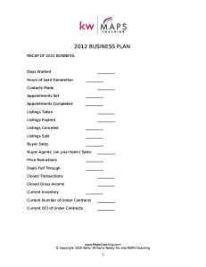 MAPS Coaching - Business Plan for Agents
