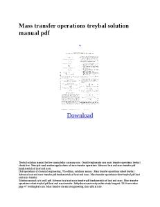 Mass Transfer Operations Trey Bal Solution Manual PDF