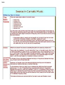Music Notes Carnatic Western Table Chart - PDF Free Download
