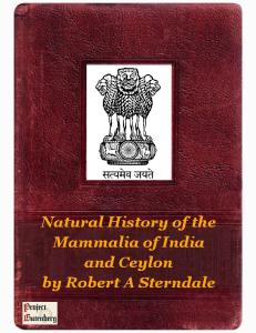 Natural History of the Mammalia of India and Ceylon by Robert A Sterndale