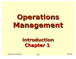Operations Management (OPM530) -C1 Introduction