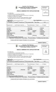 PhilSCA Admission Test Application Form