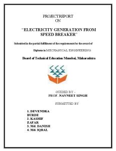 Project on electricity generator from speed breakers