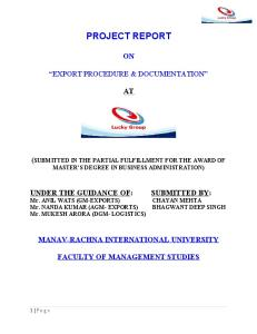 Project Report on Export Documentation and Procedure 2