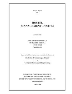 Project Report On HOSTEL MANAGEMENT SYSTEM Submitted by