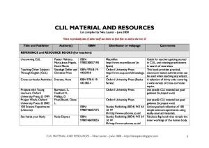 Published Material for CLIL Classes (Spain)