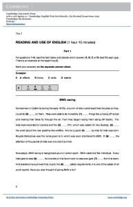 Reading and Use of English FCE