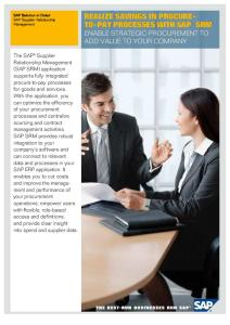 Realize Savings in Procure-To-Pay Processes With SAP SRM