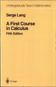 S. Lang - A First Course in Calculus