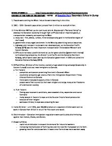 SOCIAL STUDIES 11 Notes to Assist You in Studying for the Provincial Exam