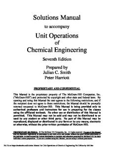 Solution Manual for Unit Operations of Chemical Engineering 7th Edition by Mc Cabe