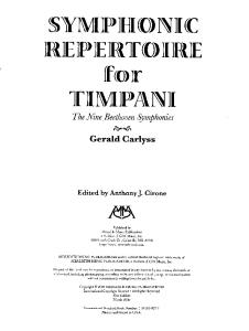 Symphonic Repertoire for Timpani (the Nine Beethoven Symphonies) - Gerald Carlyss