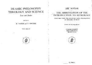 The Abbreivation of the Introduction To Astrology - Abu Mashar