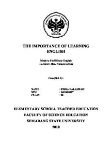The Importance of Learning English in Sd