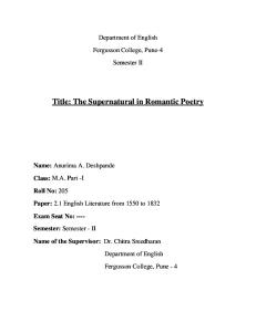 The Supernatural in Romantic Poetry
