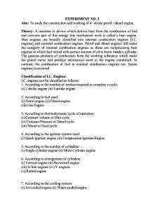 To study the construction and working of 4- stroke petrol / diesel engine