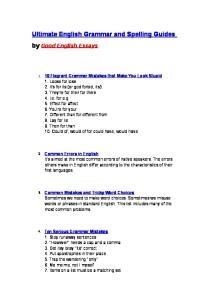 Ultimate English Grammar and Spelling Guides by Good English Essays